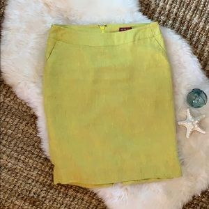 Mustard yellow linen pencil skirt